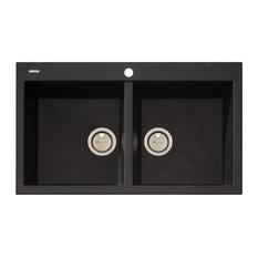 Oliveri Santorini Granite Sink   Topmount, Double Bowl   ST BL1564   Kitchen
