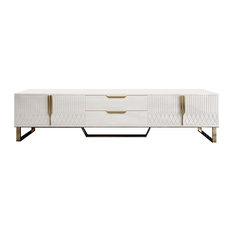 Aro Modern Stylish White TV Stand Rectangle TV with Drawers Doors Media Console