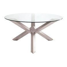Beverly Dining Table Glass Top Polished Stainless Base 72-inch