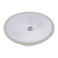 "Nantucket Sinks 17""x14"" Glazed Bottom Undermount Ceramic Round Sink"