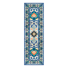 "Modern Persian Printed Floral Rug, Blue, 2'6""x12'"