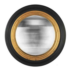 EMDE Round Convex Mirror, Black and Gold, Large