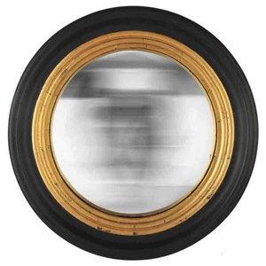 EMDE Round Convex Mirror, Black and Gold, Large