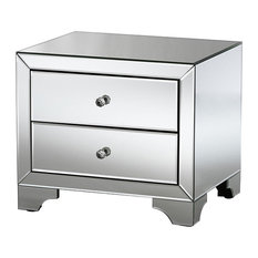 Farrah Hollywood Regency Glamour Style Mirrored 2-Drawer Nightstand