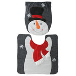 "National Tree Company - Snowman Toilet Cover and Bathroon Rug Set - 16.5""x14.17"" Snowman Toilet Cover & 21.25""x21.25"" Bathroom Rug-Set"