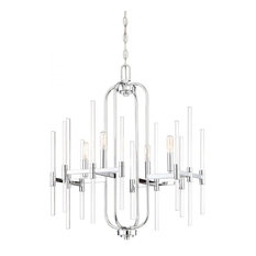 Minka Lavery Lighting 3094-77 Pillar 4 Light Chandelier, Chrome