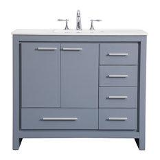 "40"" Single Bathroom Vanity Set, Gray"