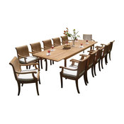 """13-Piece Outdoor Teak Dining Set, 117"""" Rectangle Table, 12 Giva Arm Chairs"""