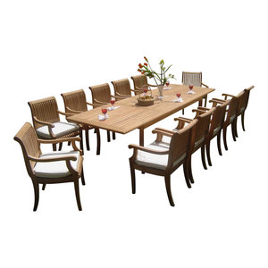 "13-Piece Outdoor Teak Dining Set, 117"" Rectangle Table, 12 Giva Arm Chairs"
