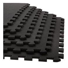 Stalwart Interlocking EVA Foam Floor Mats Black 24x24x0.375, Set of 6