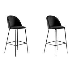 Millennial Brass Velvet Upholstered Dining Bar Stool, Soft Black, Set of 2