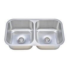 Wells Sinkware Equal Double Bowl Sink, 16 Gauge, Sink Package
