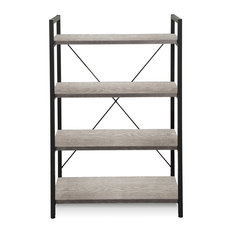 200 Collection Gray 4-Shelf Metal Frame Bookcase