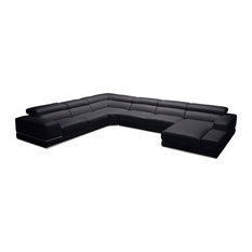 Wynn Black Leather Sectional, Right Chaise