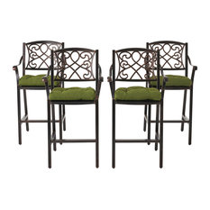 Deirdre Outdoor Barstool With Cushion, Set of 4, Shiny Copper/Olive