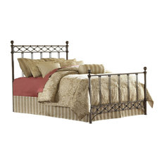 FastFurnishings - Queen Size Metal Bed With Headboard and Footboard, Copper Chrome Finish - Panel Beds