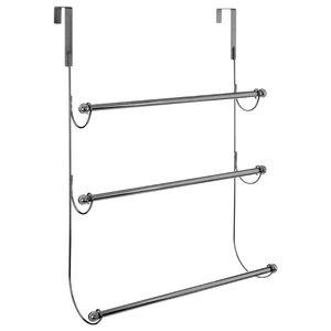 Overdoor 3-Rung Metal Hanging Towel Rail, Chrome Silver
