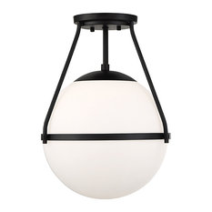 1-Light Semi-Flush Mount, Matte Black