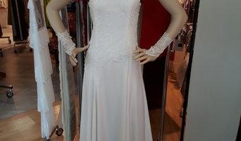 robe de mariée double crèpe de soie et dentelle de calais
