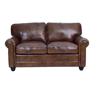 Terrific Genuine Italian Leather Loveseat In Havana Brown Caraccident5 Cool Chair Designs And Ideas Caraccident5Info