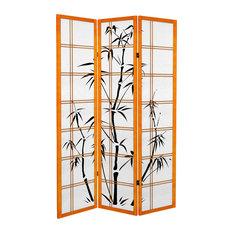 6' Tall Canvas Bamboo Tree Room Divider, Honey, 3 Panels
