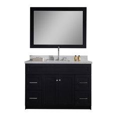 "Atlas International, Inc. - Ariel Hamlet 49"" Single Sink Vanity Set, White Quartz Countertop, Black - Bathroom Vanities and Sink Consoles"