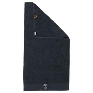 Skull Black Line Stone Grey Beach Towel With Grey Rhinestones, Black