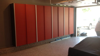 Garage Cabinets in Powder coated Red