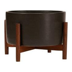 Modernica Ceramic Tabletop Cylinder Planter, Charcoal, Wood