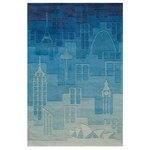 Blue Polyester Hand Tufted Urban Landscape City Rug, 8'x10' - The ultimate, urban city rug!