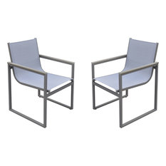 Bistro Outdoor Patio Dining Chairs, Set of 2, Gray