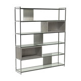 Federico High Bookcase, Weathered Oak, Chrome Accent