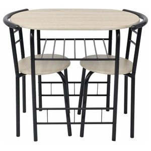 Contemporary Bar Set, Oak MDF and Black Metal With Dining Table and 2-Chair