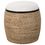 Uttermost - Island Tropical Braided Straw Round Accent Stool - You'll add a casual touch to your home with this charming Island Tropical Braided Straw Round Accent Stool. A unique blend of casual and coastal styles, this accent stool is a versatile piece that can be used as seating or as an ottoman. The round base is wrapped in natural braided straw with matte black iron details and features a plush upholstered seat in light beige.