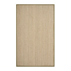 Winifred Natural Fibre Area Rug With Olive Border, 180x275 cm