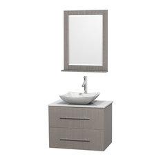 "Centra 30"" Gray Oak Vanity, Carrera Marble Top, 24"" Mirror, White Stone, White"