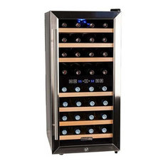 """Koldfront TWR327E 16"""" Wide 32 Bottle Wine Cooler, Black and Stainless Steel"""