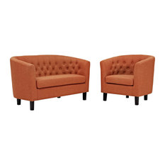 Orange Prospect 2 Piece Upholstered Fabric Loveseat And Armchair Set