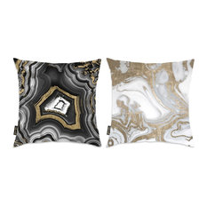"""Oliver Gal 2-Piece """"Black and White Geo"""" 18""""x18"""" Pillow Set"""