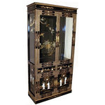 Oriental Furnishings Club Inc. - Hand-Painted Chinese Lacquer Curio Cabinet - Highly detailed Chinese lacquer Curio comes detailed in rich gold, silver arabesque and inlaid mother of pearl for a stunning display cabinet full of charm and utility. Two felt-lined drawers, adjustable glass shelving and cabinet bottom, with lighting ready to enhance your collectables. Storage never became so much fun. Shiny black lacquer with hand painted floral design (inside) make a stunning object. Two easy-to-open glass doors with magnetic closures, glass sides and solid wood framing all hand crafted with classical Chinese wood working skill. Mother of pearl ( Geisha palace sceen) is hand carved and inlaid to make this practical china cabinet a work of art. As of 1984 we have searched the orient for quality items such as this.