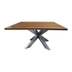 Black Walnut And Aluminum Square X-Base Aluminum Pedestal Table Barn Wood Finis
