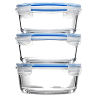 Glass Food Storage Containers, Set of 3