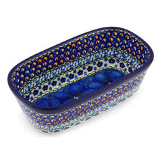 "Polish Pottery 7"" Stoneware Oval Baker Hand-Decorated Design"