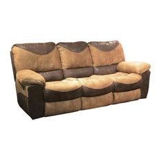 Power Reclining Sofa in Saddle and Chocolate