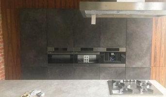 Декорирование кухонной мебели микроцементом в стиле лофт