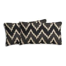 Ikat Chevron Outdoor Lumbar Pillows, Set of 2, Black