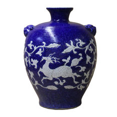 Handmade Ceramic Blue White Dimensional Deer Pattern Vase Jar Hcs5032