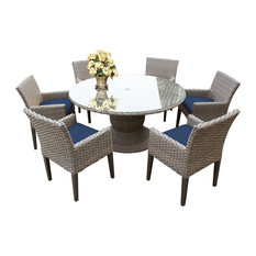 """Oasis 60"""" Outdoor Patio Dining Table with 6 Chairs w/ Arms"""