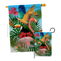 Tropical Bird Paradise Garden Friends Birds Flags Set