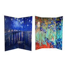 Double Sided Irises and Starry Night Over Rhone Room Divider